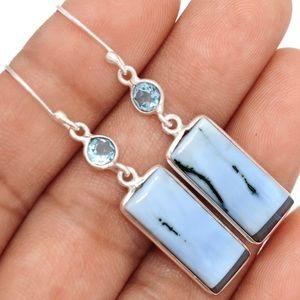Jewelry - Owyhee Opal & Blue Topaz 925 Earrings